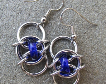 Chain Maille Earrings, Blue Earrings, Cobalt Blue Glass Earrings, Glass Jewelry, Jump Ring Jewelry