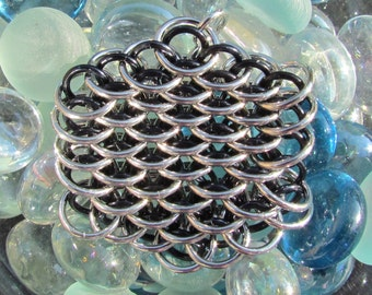 Chain Maille Pendant, Black Pendant, Dragonscale Pendant, Bright Aluminum and Black Jump Ring Jewelry