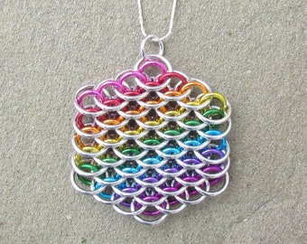 Chain Maille Pendant, Rainbow Pendant, Dragonscale Pendant, Rainbow Jewelry, Multicolor Jewelry