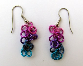 Chain Maille Earrings, Shaggy Loops Earrings, Multicolor Earrings, Multi Color Jewelry, Jump Ring Earrings