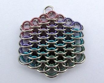 Chain Maille Pendant, Dragonscale Pendant, Pastel Pendant, Multicolor Pendant, Pastel Jewelry