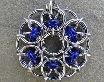 Blue Pendant, Glass Pendant, Chain Maille Pendant, Cobalt Blue Glass Jewelry