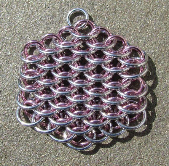 Pastel Pendant, Pink Pendant, Chain Maille Pendant, Dragonscale Necklace, Jump Ring Jewelry