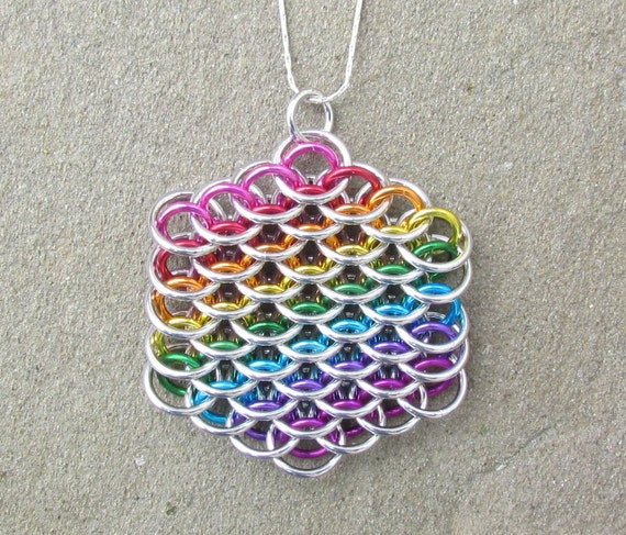 Chain Maille Pendant, Rainbow Pendant, Dragonscale Pendant, Rainbow Jewelry, Multicolor Jewelry