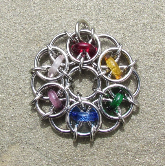 Rainbow Pendant, Chain Maille Pendant, Glass Jewelry, Multicolor Jewelry