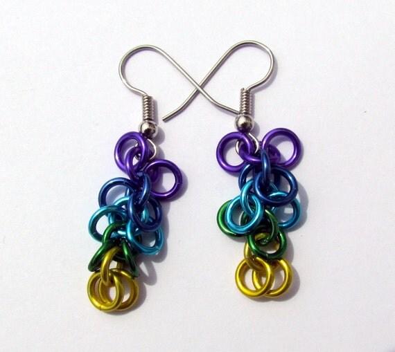Chain Maille Earrings, Shaggy Loops, Multicolor Earrings, Purple Blues Green Yellow, Jump Ring Jewelry