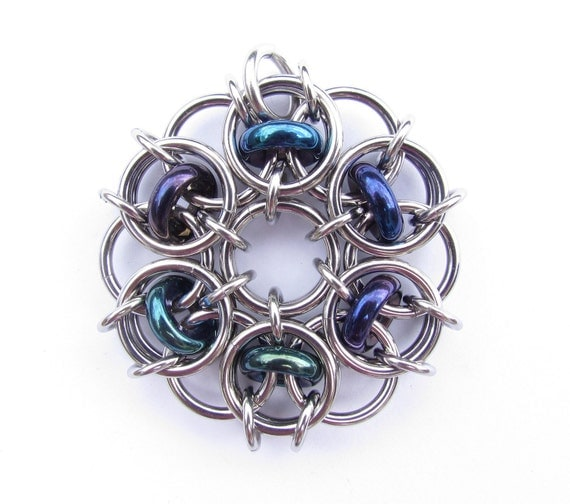 Chain Maille Pendant, Glass Pendant, Blue Pendant, Blue Glass Jewelry, Steel Jewelry
