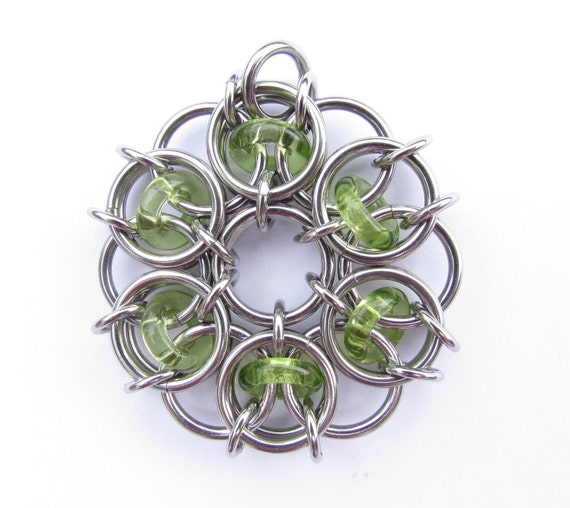Chain Maille Pendant, Green Pendant, Glass Pendant, Peridot Green Glass and Stainless Steel Pendant