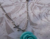 Grand Opening Sale (Free Shipping) Turquoise Rose Silver Necklace Handmade Original
