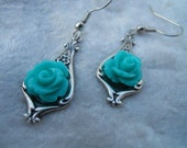 Silver and Aqua Rose Earrings on surgical steel earwires (free shpping)