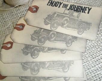 Vintage Car Gift Tags-Vintage String-Set of 5