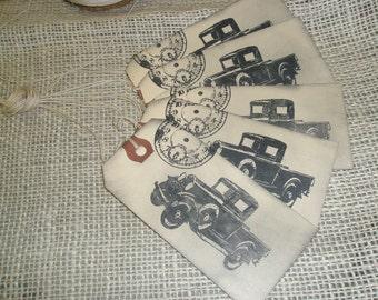 Vintage Car Gift Tags-Vintage String-Clock-Set of 5