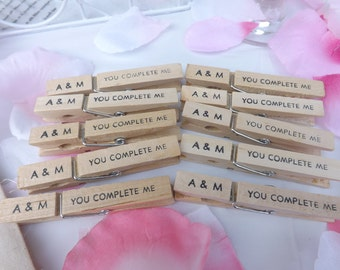Love Clothespins-You Complete Me-Wedding wish tree-Wedding favors-Set of 10