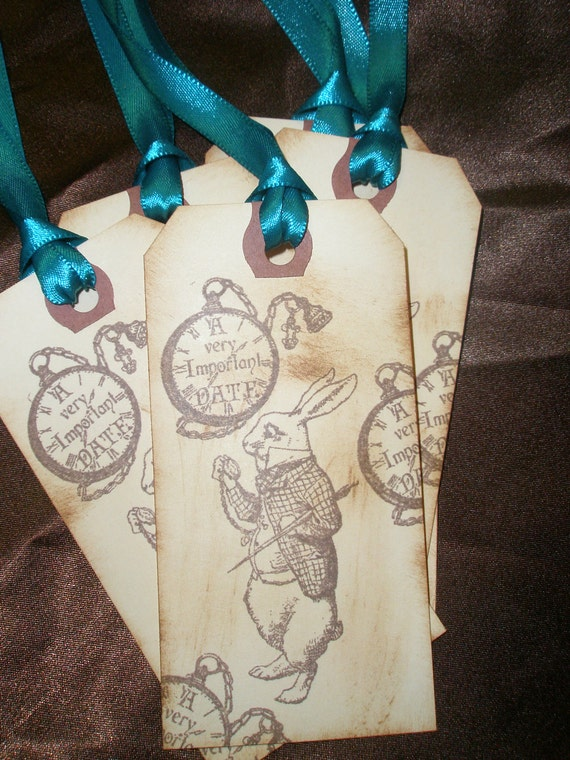 White Rabbit-Alice in Wonderland Gift Tags-Birthday Tags-Set of 5