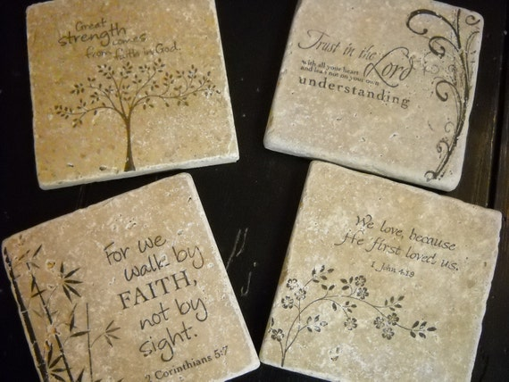 Holiday gift ideas- Hand Stamped Bible Verse Inspirational Ceramic Tile Coaster Set of 4