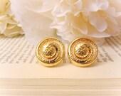 Vintage Button Earrings, Gold Spiral Earrings, Vintage earrings, Clip on, Studs, Spring Jewelry, Abstract Earrings, Button Earrings
