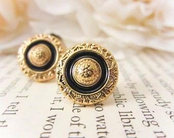 Vintage Gold and Black Enamel earrings, vintage button earrings, stud earrings, post earrings, bridesmaid earrings, gift, holiday jewelry