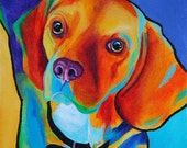 Custom Pet Portrait - Custom Pop Art Pet Portrait Acrylic on Canvas Board 8 x 10 - By Corina St. Martin
