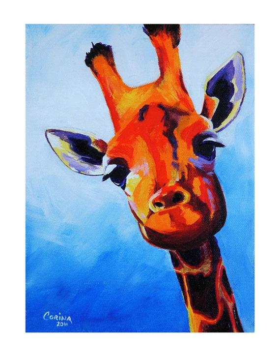 Curious Giraffe - Original Giraffe PRINT 11 x 14 - By Corina St. Martin