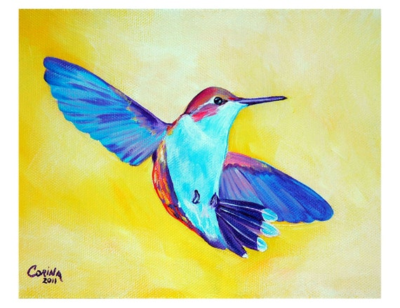Colorful Hummingbird - Original Hummingbird PRINT 8 x 10 - By Corina St. Martin