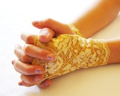 Lace Fingerless Gloves:  Yellow, Gold, Lace Gloves, Bridal Cuffs, Flower Girl, Wedding ,Prom, Victorian, Mommy and me sets