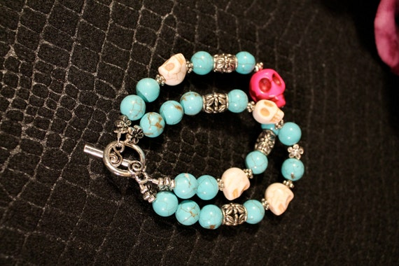 Day of the Dead Dia de los Muertos double strand turquoise skull cuff bracelet jewelry Day of the Kate