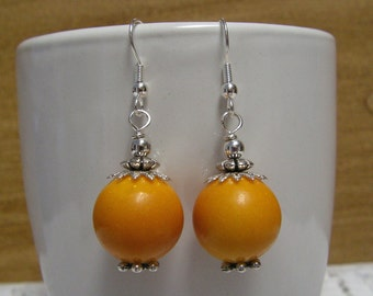 Jade Earrings Marigold - Marigold Earrings, Gemstone Earrings, Dangle Earrings, Beaded Earrings
