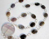 Silver Agate Necklace Quartz Pendant Wire Wrapped Grey Pink Purple Brown White