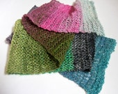 Silk Mohair Scarf Hand Knit Luxurious Noro Yarn in Pink, Green, Teal and Grey