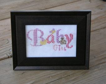 Baby girl nursery wall art-cross stitch-nursery decoration-wall decor-baby items