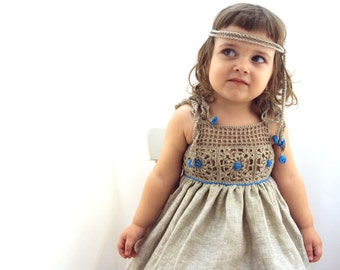 organic (flax) linen dress for the baby (girl)
