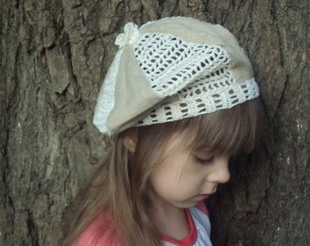 linen baby/girl beret cap/ hat   with crocheted inserts