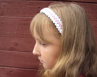 Stretchy crochet cotton wight-pink Headband or Hair Clip - Baby Toddler Girl