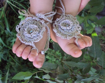 "Linen "" Blue Drop""  Baby Barefoot Sandals/ Crochet baby sandals"