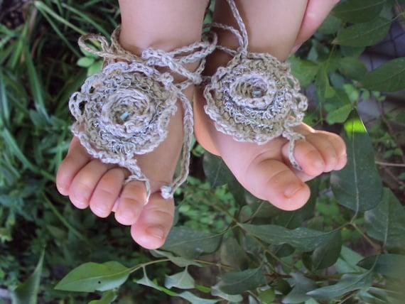 "Linen "" Blue Drop""  Baby Barefoot Sandals/ Crochet baby sandals"