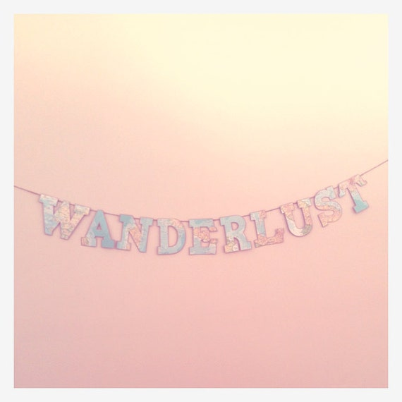 "Card Cutout Garland / Bunting / Banner ""Wanderlust"" - Vintage 1946 Atlas / Map Colour Palette"