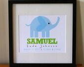 Personalised Baby Print - Large Elephant 8 x 10