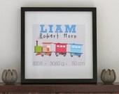 Personalised Baby Print - Train 8 x 10