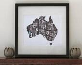 Australia Typography Map 8 x 10