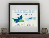 Personalised Baby Print - Plane with banner 8 x 10