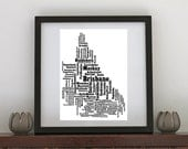 Towns of Queensland Typography Print 8 x 10
