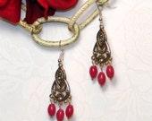 168- Natural Raspberry Jade Chandelier Earrings