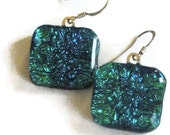 Fused dichroic glass earrings on sterling  earwires