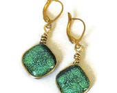 Fused dichroic glass earrings, wire wrapped, green