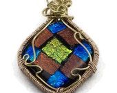 Fused dichroic glass wire wrapped pendant