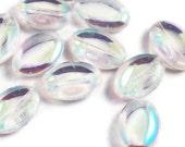Bead destash, clear ab 14 x 20 glass beads