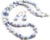Gemstone necklace, blue lace agate and pearl necklace,18 inches, sterling silver