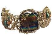 Wire wrapped dichroic glass boho freeform cuff bracelet