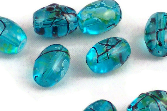 Dark aqua oval glass beads, bead destash