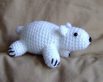Handmade Crochet White Polar Bear Cute Wool Soft Toy Gift